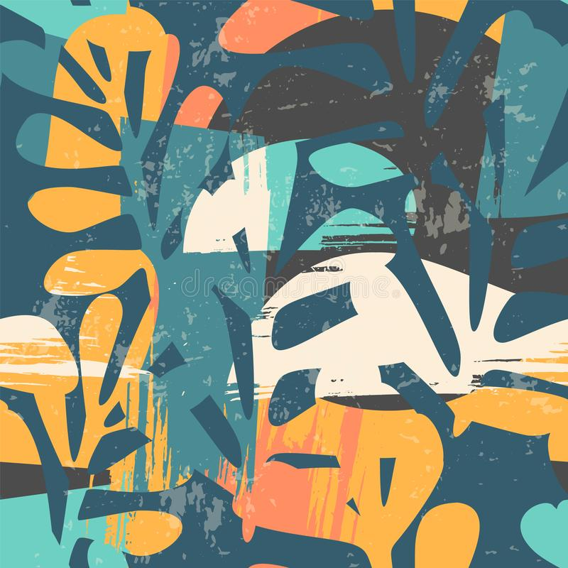 Abstrakcjonistyczny kwiecisty bezszwowy wzór z modna ręka rysować teksturami ilustracji