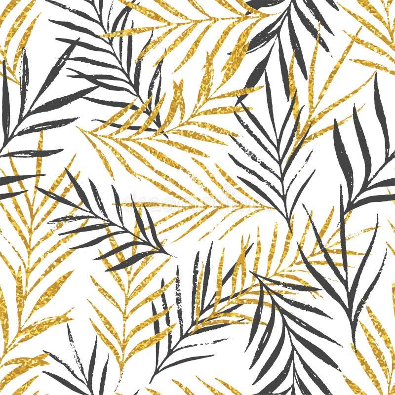 Abstrakcjonistyczny kwiecisty bezszwowy wzór z palmą opuszcza, modna złocista błyskotliwości tekstura royalty ilustracja