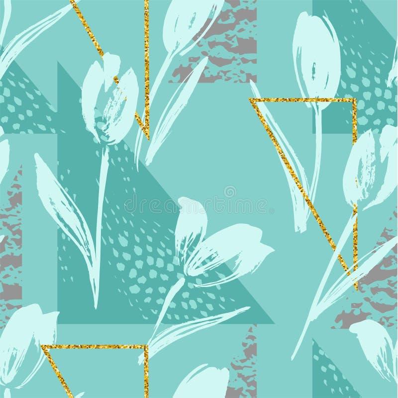 Abstrakcjonistyczny kwiecisty bezszwowy wzór z tulipanami i geometrycznymi elementami royalty ilustracja