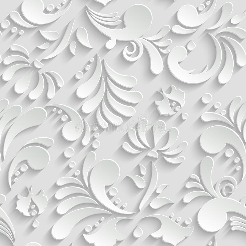 Abstrakcjonistyczny Kwiecisty 3d Bezszwowy wzór ilustracja wektor