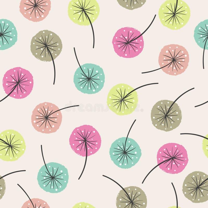 abstrakcjonistyczny kwiecisty deseniowy bezszwowy Wektorowy t?o z kolorowymi kwiatami royalty ilustracja