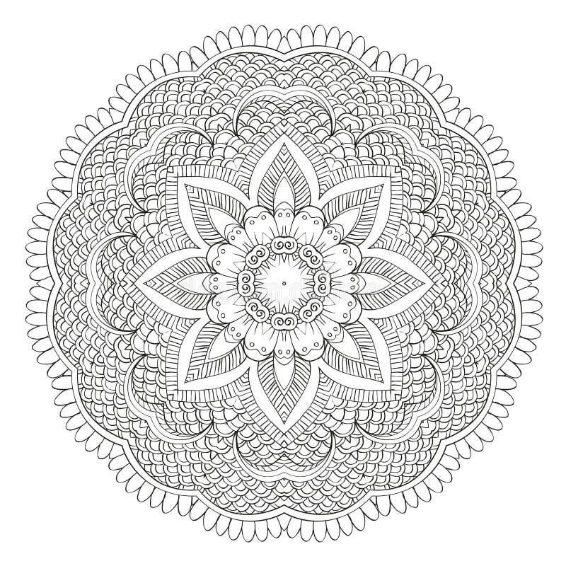 Abstrakcjonistyczny kwiecisty kółkowy mandala ilustracji