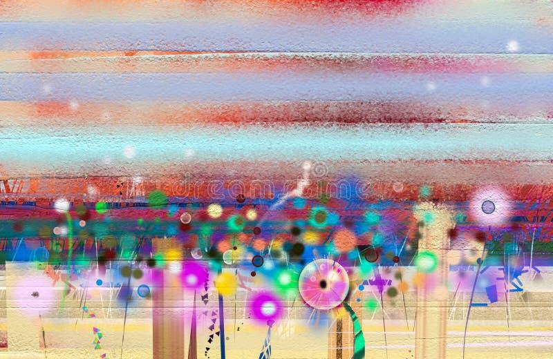 Abstrakcjonistyczny kwiecisty nafcianego koloru obraz Wiosna kwiatu natury sezonowy tło ilustracja wektor