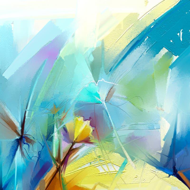 Abstrakcjonistyczny kwiecisty nafcianego koloru obraz Wręcza malującego kolor żółtego i Czerwonych kwiaty w miękkim kolorze royalty ilustracja