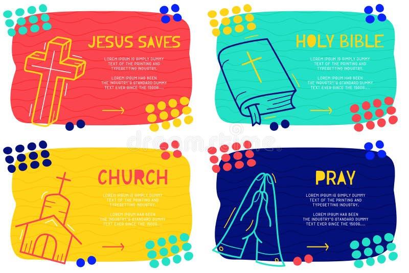 Abstrakcjonistyczny lądowanie strony wzór z różnym elementem, teksta blokiem i doodle świętą biblią, ono modli się, krzyżuje, koś ilustracja wektor