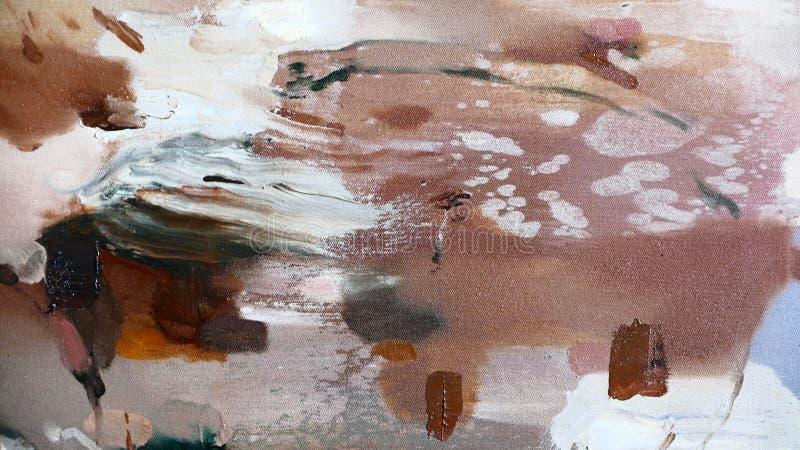Abstrakcjonistyczny lampasa wzór: farba nafciani kolory na kanwie zdjęcie royalty free
