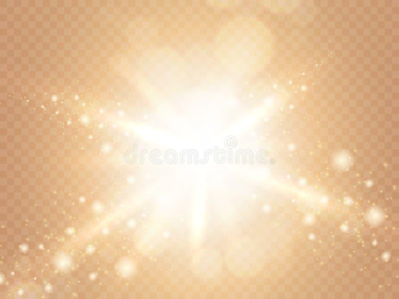 Abstrakcjonistyczny lekki skutek odizolowywający na miękkiej części ciepłym przejrzystym tle Promienie światło z świecącymi kropk royalty ilustracja
