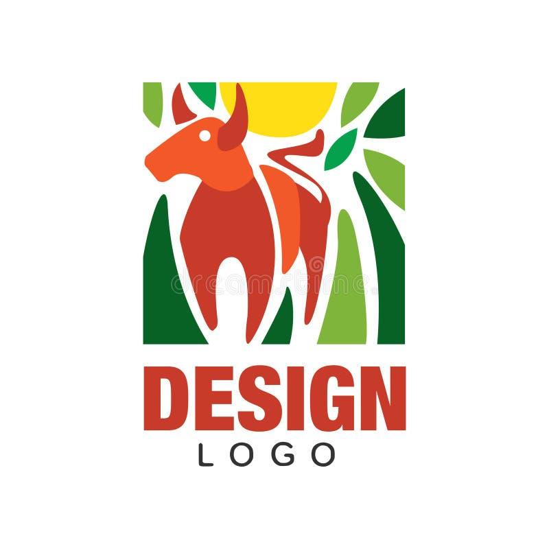 Abstrakcjonistyczny loga projekt z czerwonym bykiem, słońcem i zieleń liśćmi, Oryginalny dekoracyjny element dla druku, pocztówki ilustracja wektor