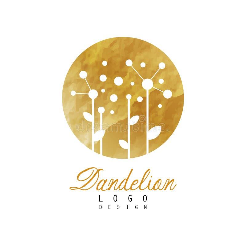 Abstrakcjonistyczny loga projekt z dandelion na złotej szczegółowej teksturze Oryginalny kwiatu symbol Wektorowy projekt dla natu ilustracji