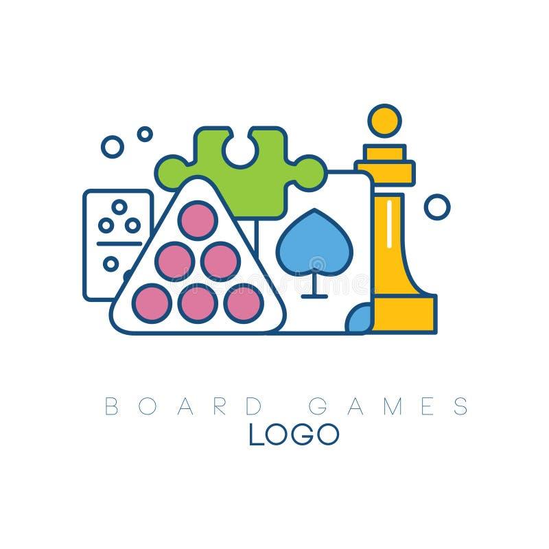 Abstrakcjonistyczny loga projekt z grami planszowa Nowożytny liniowy emblemat z kolorową pełnią Bilardowe piłki, szachowy kawałek ilustracja wektor