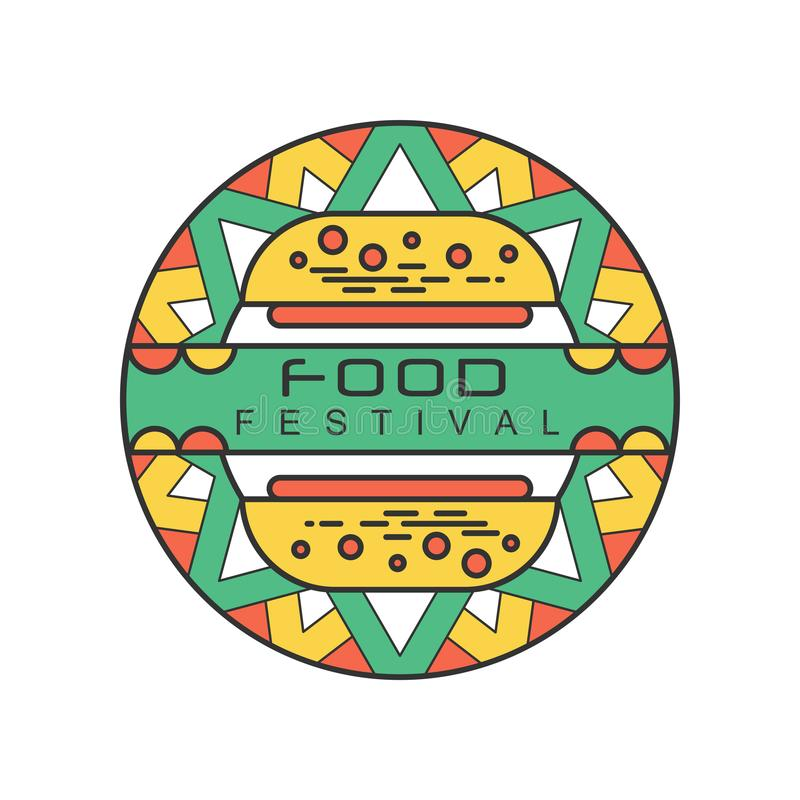 Abstrakcjonistyczny loga szablon dla karmowego festiwalu Kolorowa kreskowa sztuka z smakowitym hamburgerem Pojęcie uliczny łasowa royalty ilustracja