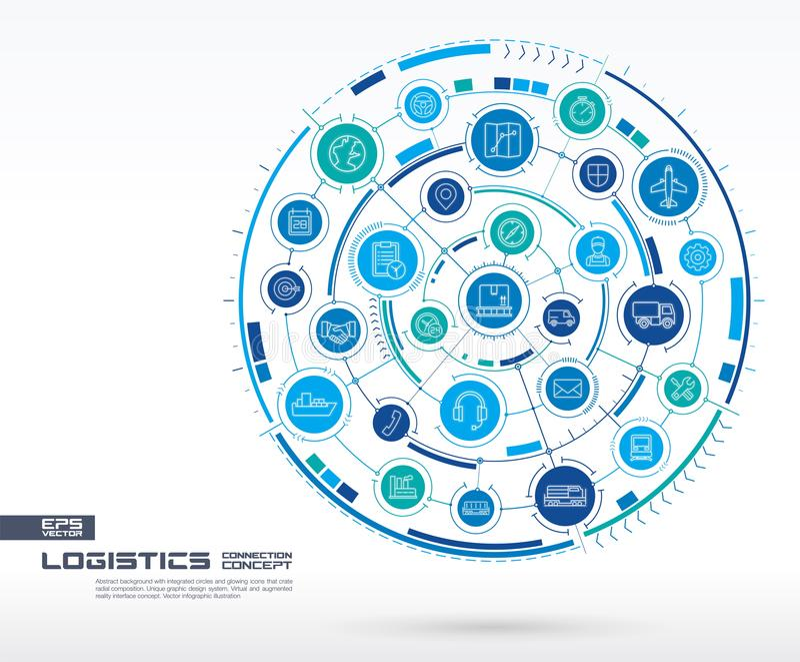 Abstrakcjonistyczny logistycznie i dystrybucja tło Digital łączy system z zintegrowanymi okręgami, rozjarzonymi cienieje kreskowe royalty ilustracja