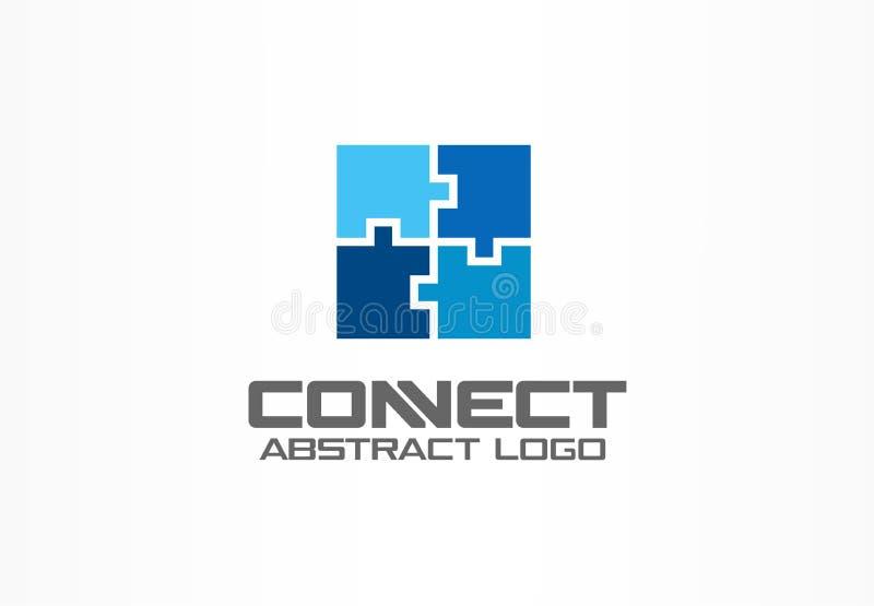 Abstrakcjonistyczny logo dla biznesowej firmy Przemysł, finanse, banka logotypu pomysł Kwadratowa grupa, sieć integruje, technolo ilustracja wektor
