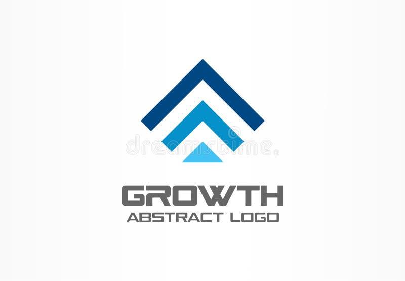 Abstrakcjonistyczny logo dla biznesowej firmy Technologia, Przemysłowy, targowy logotypu pomysł, Czerwona strzała up, wzrostowa m ilustracja wektor