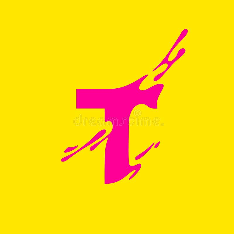 Abstrakcjonistyczny logo pojęcie z Dynamicznym T listem Nowożytny Wektorowy symbol dla Postępowego biznesu royalty ilustracja