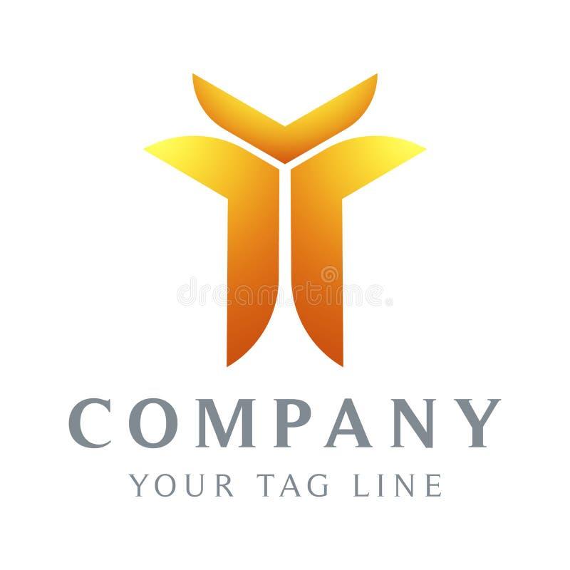 Abstrakcjonistyczny logo szablon w postaci cia?a ludzkiego kt?ry podnosi jego r?k? royalty ilustracja