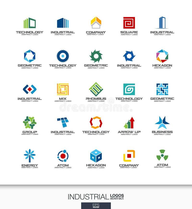 Abstrakcjonistyczny logo ustawiający dla biznesowej firmy Budowa, przemysł, architectureconcepts Praca, inżynier, technologia łąc ilustracja wektor