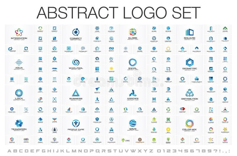 Abstrakcjonistyczny logo ustawiający dla biznesowej firmy Korporacyjnej tożsamości projekta elementy łatwe tło ikony zamieniają p royalty ilustracja