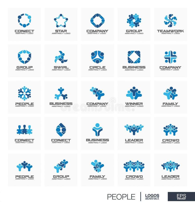 Abstrakcjonistyczny logo ustawiający dla biznesowej firmy Ludzie liderów, tłum, zwycięzca, rodzina łączą pojęcie Praca zespołowa, royalty ilustracja