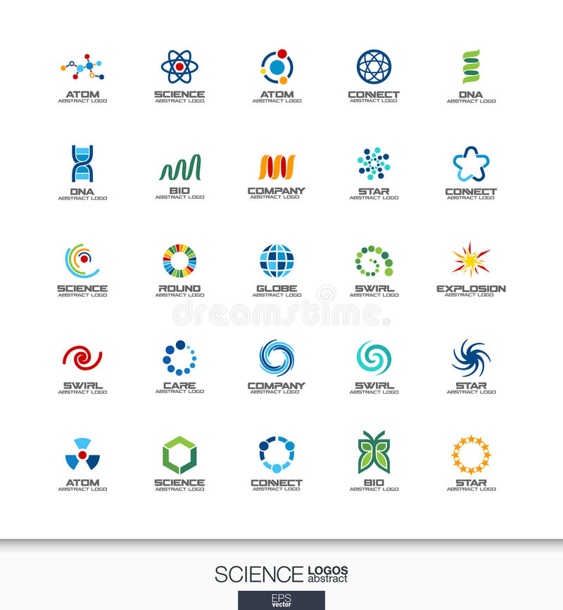 Abstrakcjonistyczny logo ustawiający dla biznesowej firmy Nauki, edukaci, physics i substanci chemicznej pojęcia, Dna, atom, mole ilustracji
