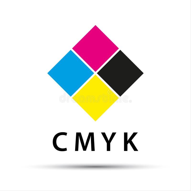 Abstrakcjonistyczny logo w formie diamentu z cmyk kolorem ilustracji