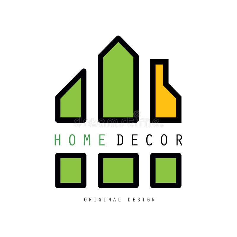 Abstrakcjonistyczny logo z kształtami wpólnie ustanawia dom Wektorowy emblemat dla wewnętrznego projekta i dom dekoruje firmy lub ilustracji