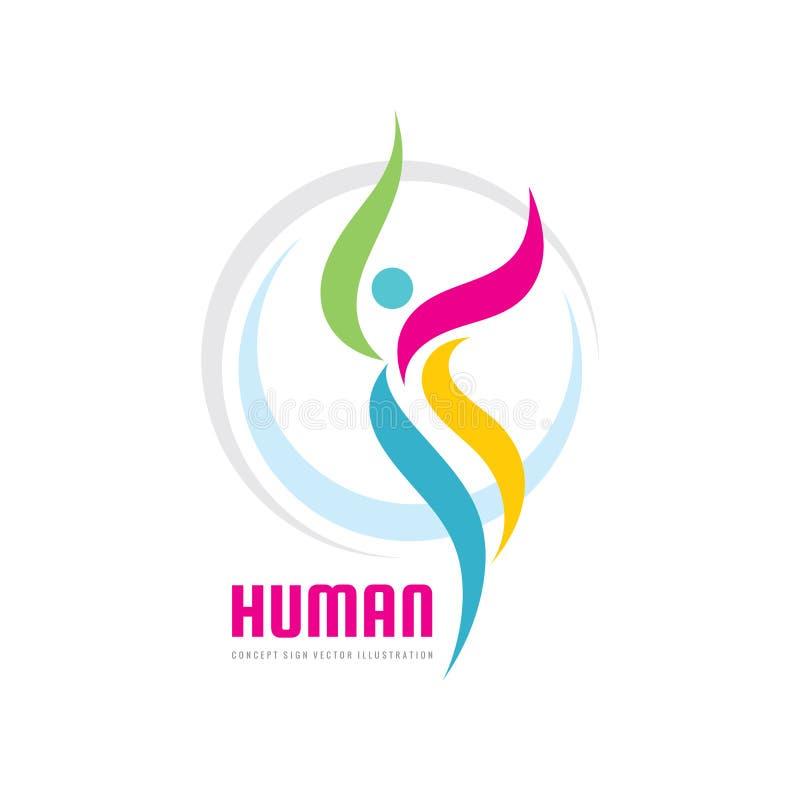 Abstrakcjonistyczny ludzki charakter - wektorowa biznesowa loga szablonu pojęcia ilustracja Wellness kreatywnie znak Sport sprawn ilustracji