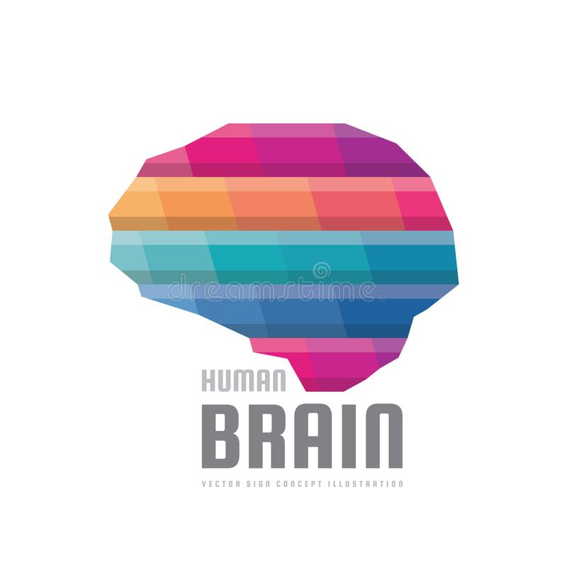Abstrakcjonistyczny ludzki mózg - wektorowa loga szablonu pojęcia ilustracja Kreatywnie pomysłu kolorowy znak Infographic symbol  royalty ilustracja
