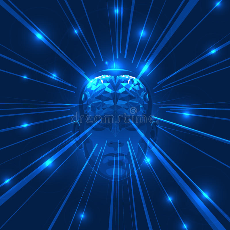 Abstrakcjonistyczny Ludzkiej głowy mózg z Lekkimi promieniami ilustracja wektor