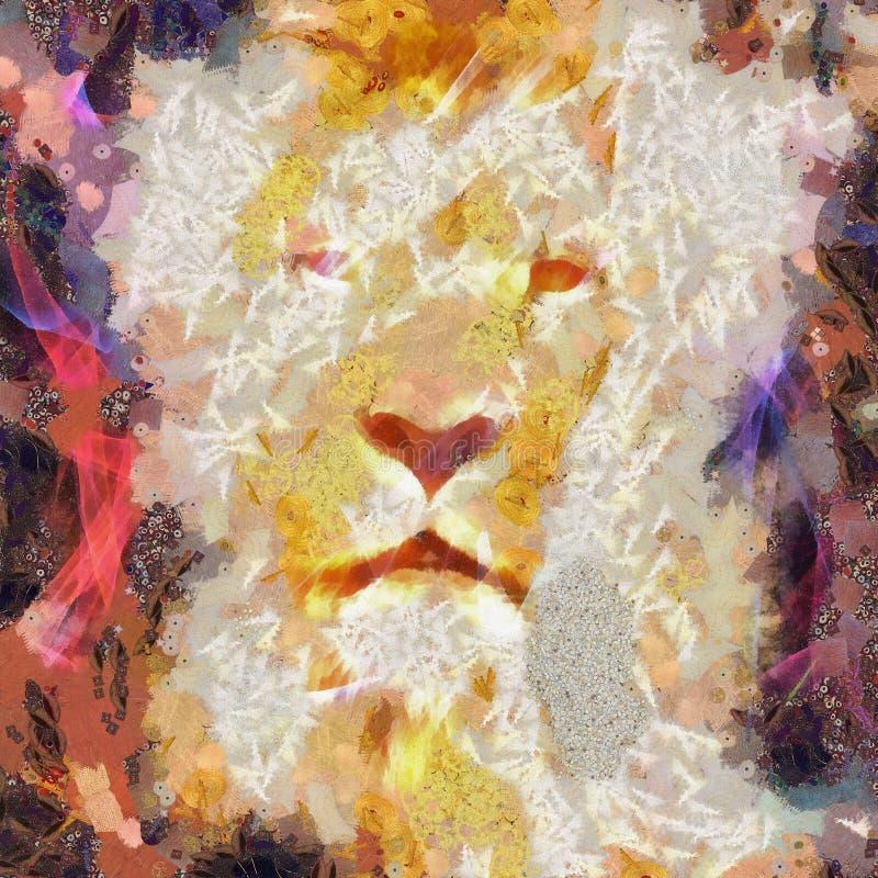 Abstrakcjonistyczny lwa kolażu obraz royalty ilustracja