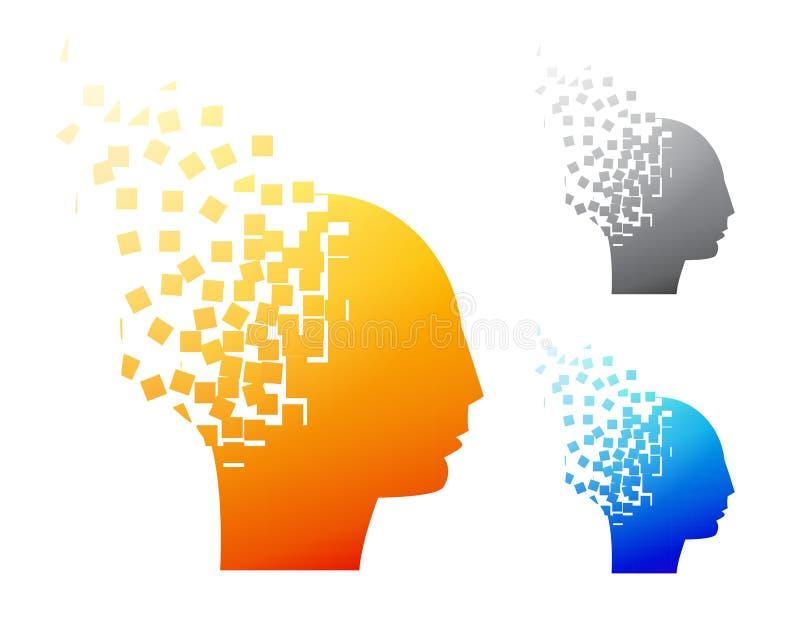 Abstrakcjonistyczny móżdżkowy logo lub Alzheimer symbol royalty ilustracja