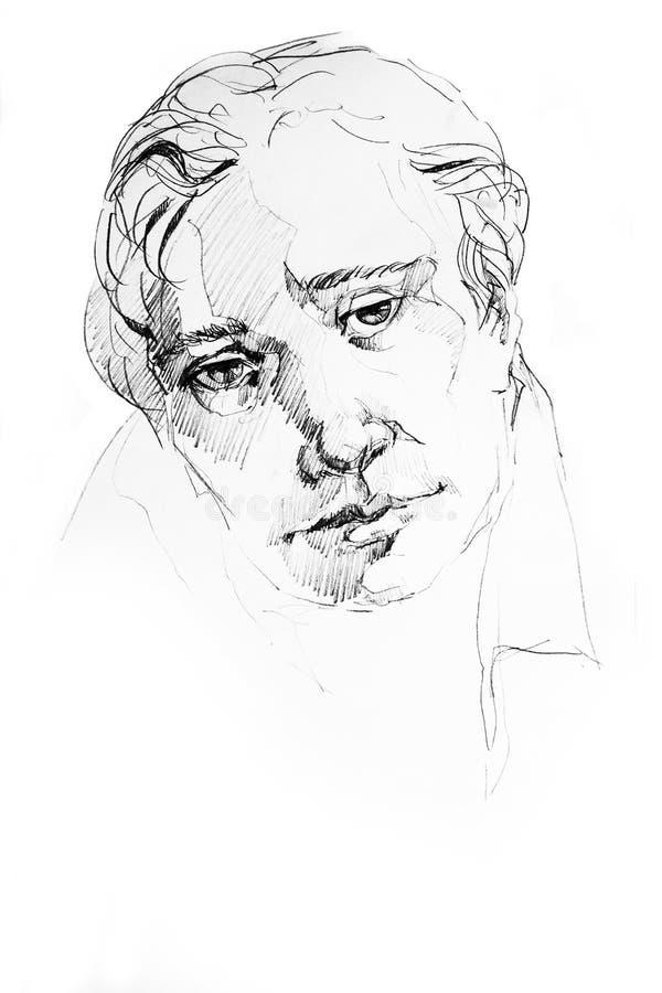 Abstrakcjonistyczny mężczyzna portreta ołówek royalty ilustracja