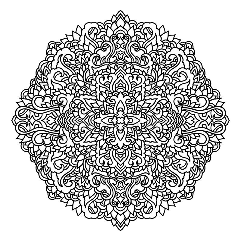 Abstrakcjonistyczny mandala ornament azjata wzór Czarny i biały autentyczny tło również zwrócić corel ilustracji wektora ilustracji