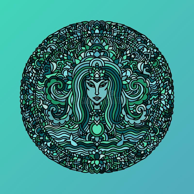 Abstrakcjonistyczny mandala ornament Azjata wzór z długie włosy dziewczyny twarzą Błękitny marynarki wojennej tło również zwrócić ilustracja wektor