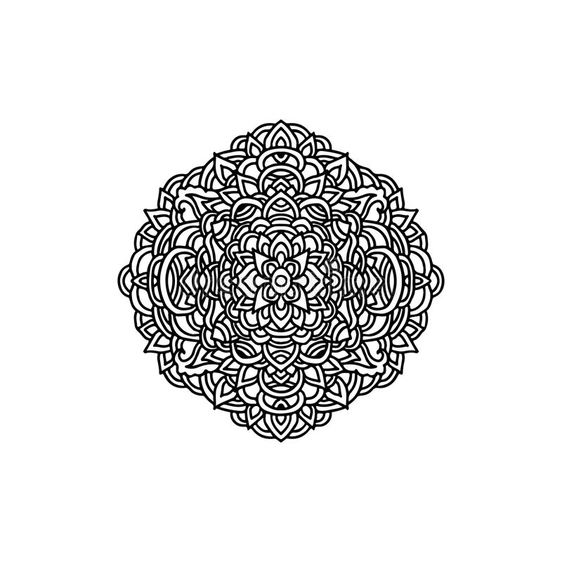 Abstrakcjonistyczny mandala ornament azjata wzoru styl tła czarny karcianego projekta kwiatu fractal dobrego ogange plakatowy bie royalty ilustracja