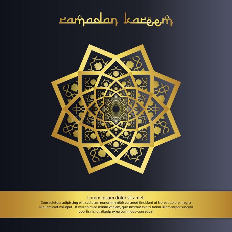 abstrakcjonistyczny mandala ornamentu wzoru elementu projekt z papieru cięcia stylem dla Ramadan Kareem islamskiego powitania zap royalty ilustracja