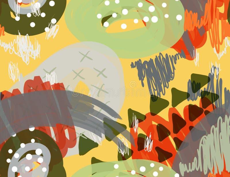 Abstrakcjonistyczny markier gryzmoli kropki i trójboki żółtych royalty ilustracja