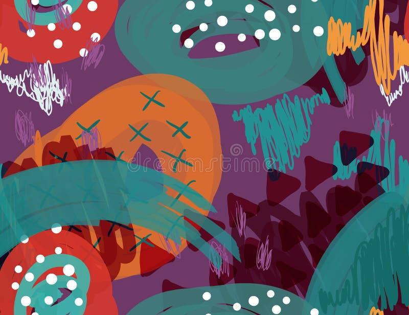 Abstrakcjonistyczny markier gryzmoli kropki i trójboki purpurowych ilustracji