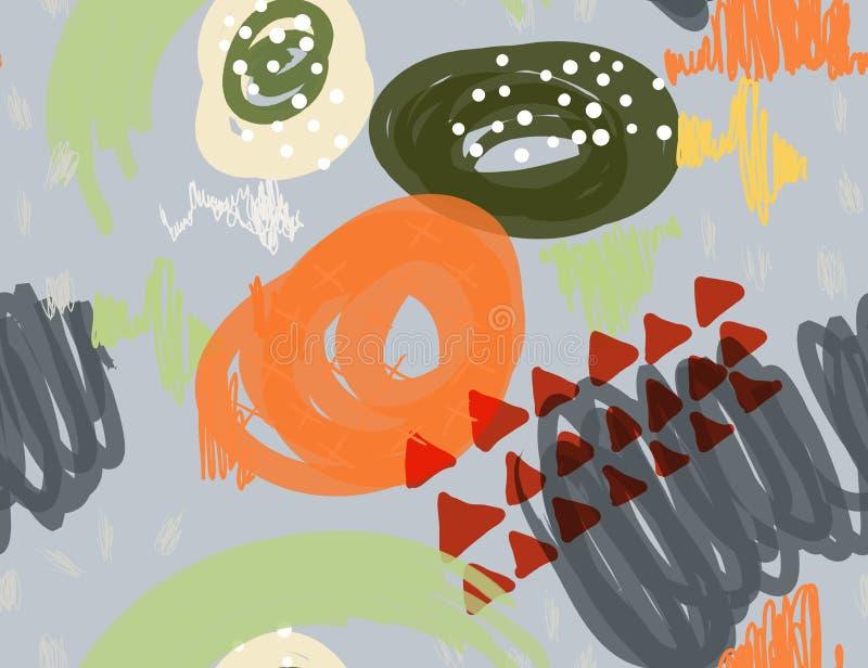 Abstrakcjonistyczny markier gryzmoli kropki i trójboki szarych ilustracji