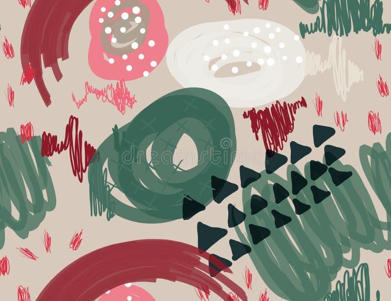Abstrakcjonistyczny markier gryzmoli kropki i trójboki zaświecają - szarość ilustracji