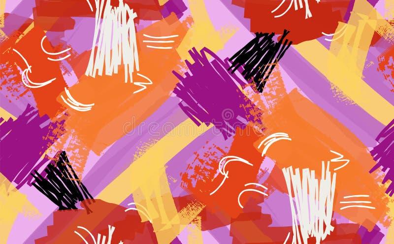 Abstrakcjonistyczny markiera i atramentu uderzeń purpurowy pomarańczowy kolor żółty ilustracji