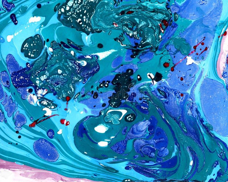 Abstrakcjonistyczny marmoryzacji tło - zieleń, fiołek, błękitny fotografia stock