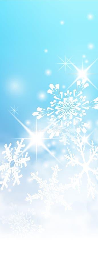 Abstrakcjonistyczny marznięcie i Mroźny Zimny Błękitny sztandar z płatkami śniegu i gwiazdkami ilustracja wektor