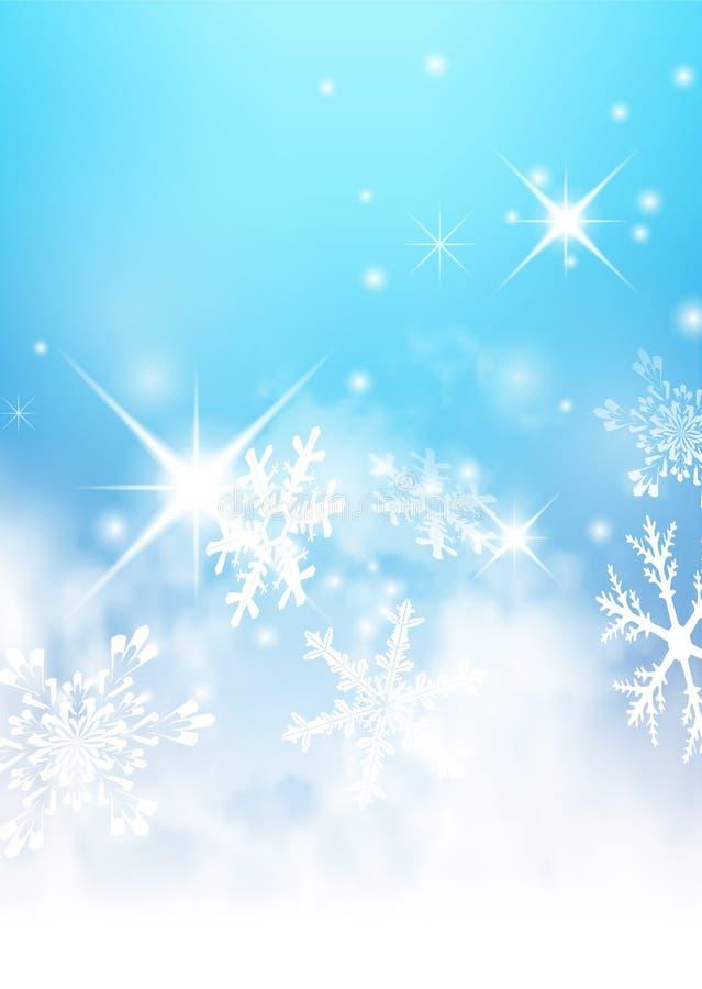 Abstrakcjonistyczny marznięcie i Mroźny Zimny Błękitny tło z płatkami śniegu i gwiazdkami ilustracja wektor