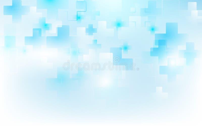 Abstrakcjonistyczny medyczny przecinający kształt nauki i medycyny pojęcie na miękkim błękitnym tle ilustracji