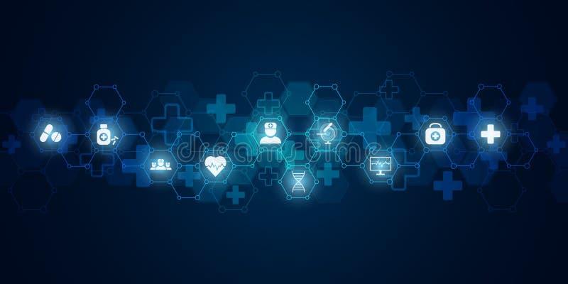 Abstrakcjonistyczny medyczny tło z płaskimi ikonami i symbolami Pojęcia i pomysły dla opieki zdrowotnej technologii, innowacja ilustracja wektor
