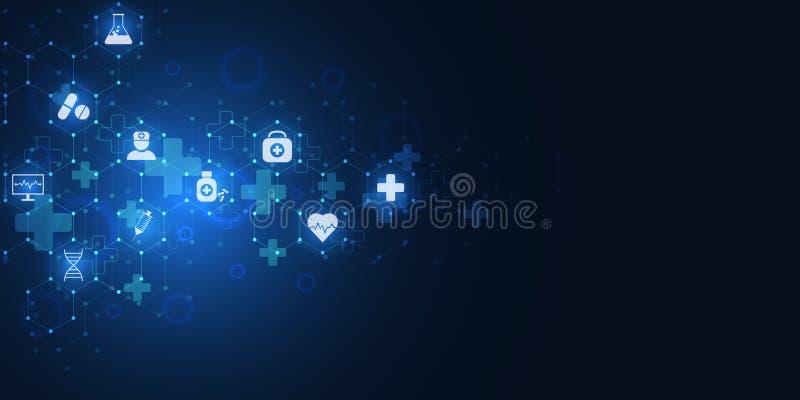 Abstrakcjonistyczny medyczny tło z płaskimi ikonami i symbolami Pojęcia i pomysły dla opieki zdrowotnej technologii, innowacja royalty ilustracja