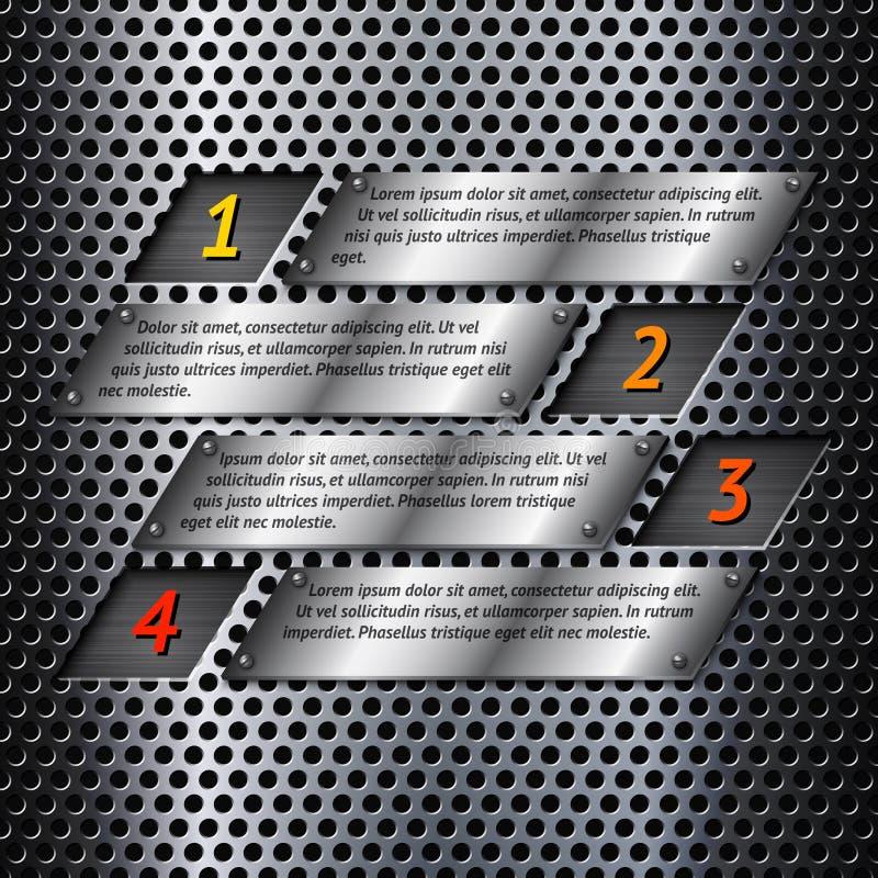 Abstrakcjonistyczny metalu infographics szablon