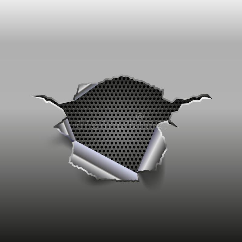 Abstrakcjonistyczny metalu tło z dziury i metalu siatką inside ilustracji