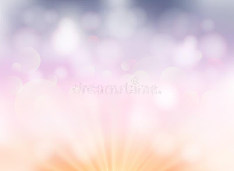 Abstrakcjonistyczny miękkiego światła bokeh pastelowego koloru tło dla presentati royalty ilustracja